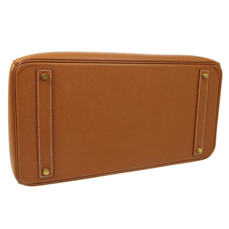 Hermes Birkin 40 Cognac Leather Gold Travel Men's Top Handle Satchel Tote For Sale 1