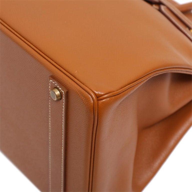 Hermes Birkin 40 Cognac Leather Gold Travel Men's Top Handle Satchel Tote For Sale 2