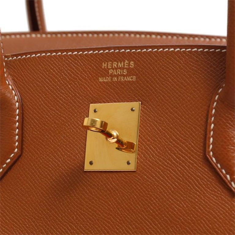 Hermes Birkin 40 Cognac Leather Gold Travel Men's Top Handle Satchel Tote For Sale 3
