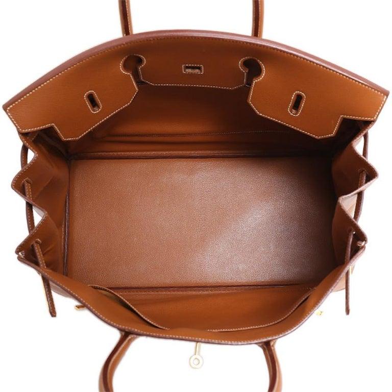 Hermes Birkin 40 Cognac Leather Gold Travel Men's Top Handle Satchel Tote For Sale 4
