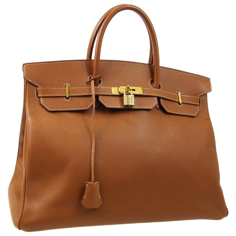 Hermes Birkin 40 Cognac Leather Gold Travel Men's Top Handle Satchel Tote For Sale