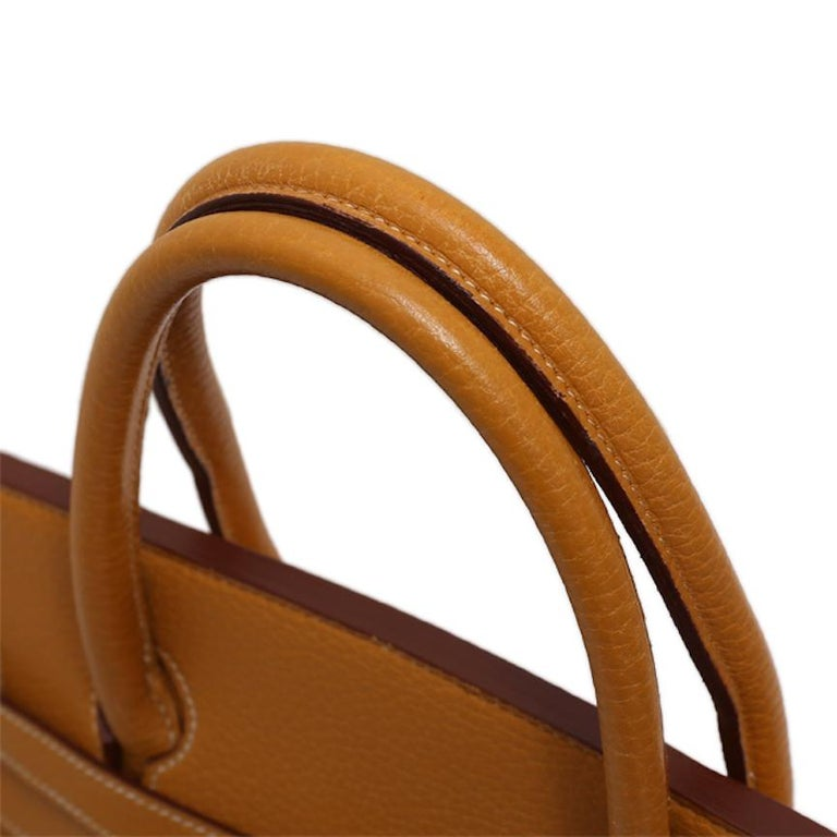 Hermes Birkin 40 Cognac Leather Gold Travel Men's Top Handle Satchel Tote II In Good Condition For Sale In Chicago, IL