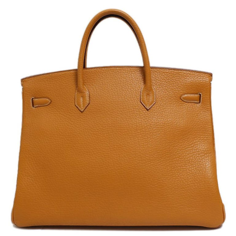 Women's Hermes Birkin 40 Cognac Leather Gold Travel Men's Top Handle Satchel Tote II For Sale