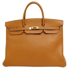 Hermes Birkin 40 Cognac Leather Gold Travel Men's Top Handle Satchel Tote II