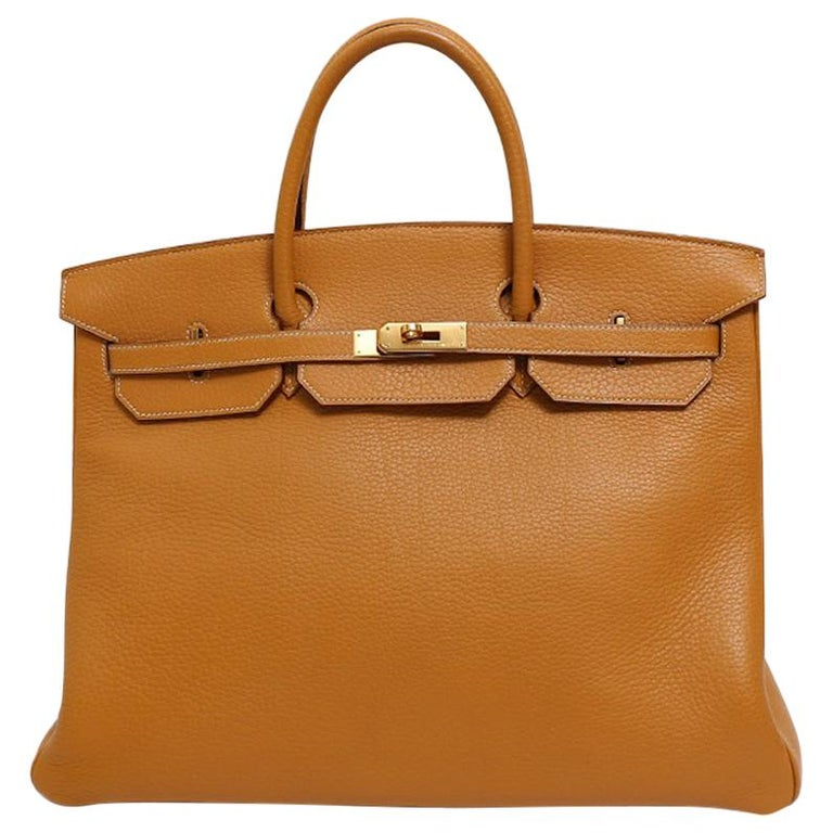 Hermes Birkin 40 Cognac Leather Gold Travel Men's Top Handle Satchel Tote II For Sale