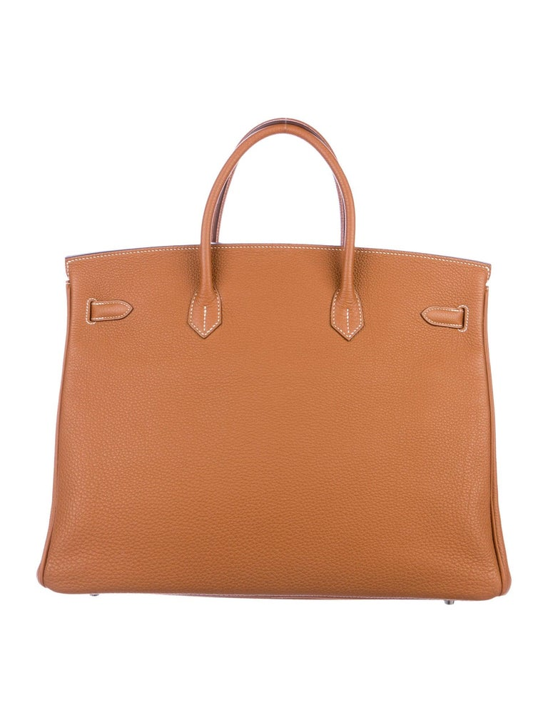 Hermes Birkin 40 Cognac Leather Silver Travel Men's Top Handle Satchel Tote In Good Condition For Sale In Chicago, IL