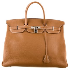 Hermes Birkin 40 Cognac Leather Silver Travel Men's Top Handle Satchel Tote II