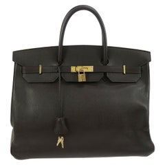 Hermes Birkin 40 Dark Brown Leather Gold Travel Carryall Top Handle Satchel Tote