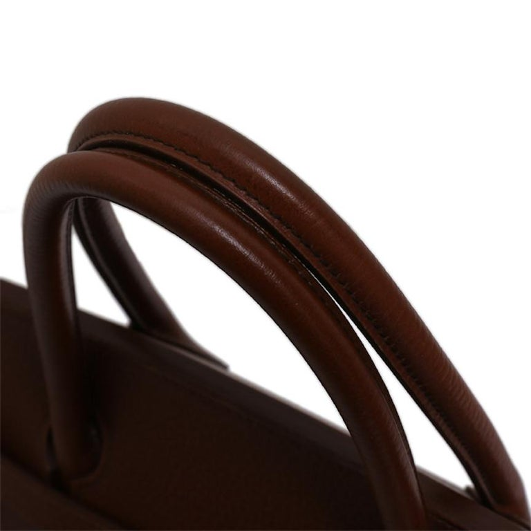 Hermes Birkin 40 Dark Brown Leather Gold Travel Men's Top Handle Satchel Tote In Good Condition For Sale In Chicago, IL