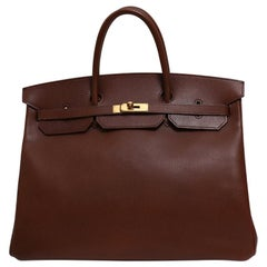 Hermes Birkin 40 Dark Brown Leather Gold Travel Men's Top Handle Satchel Tote