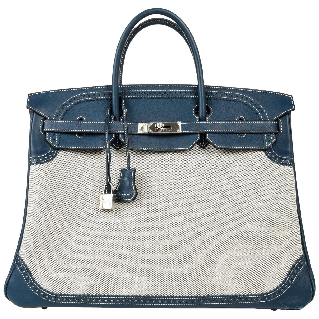 Hermes Birkin 40 Ghillies Bag Blue de Prusse w/ Blue Toile Palladium Hardware