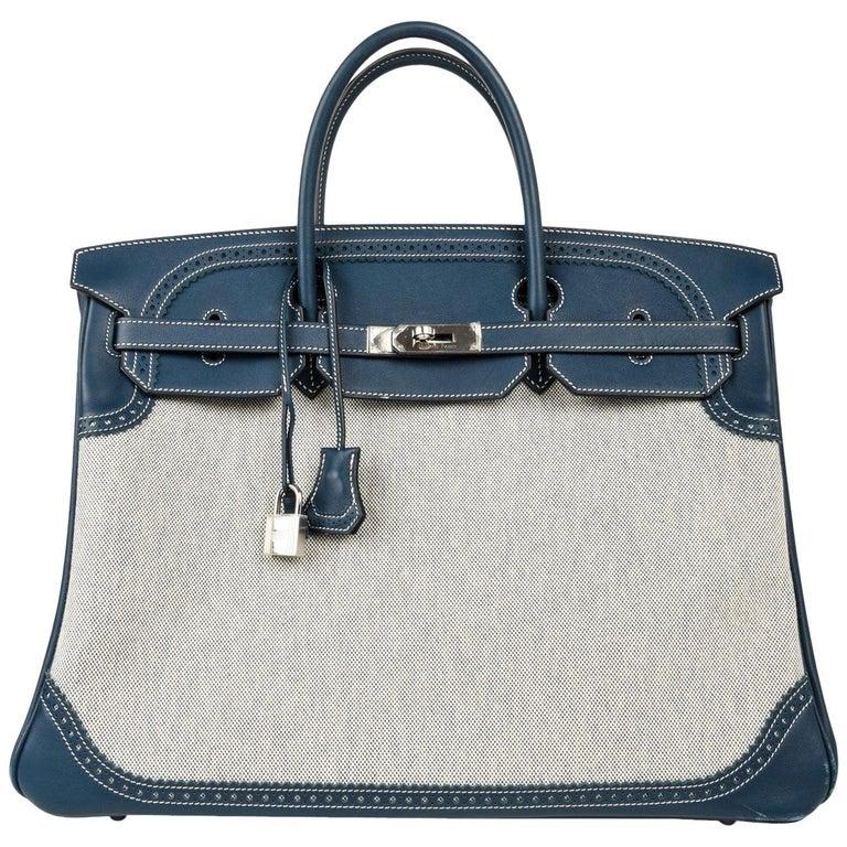 Hermes Birkin 40 Ghillies Bag Blue de Prusse w/ Blue Toile Palladium Hardware For Sale