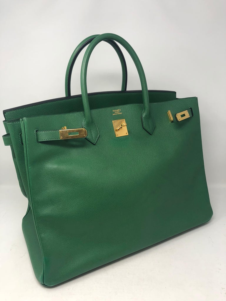 300c4550d8 Hermes Birkin 40 Green with gold hardware. Epsom leather. Beautiful emerald  green color.