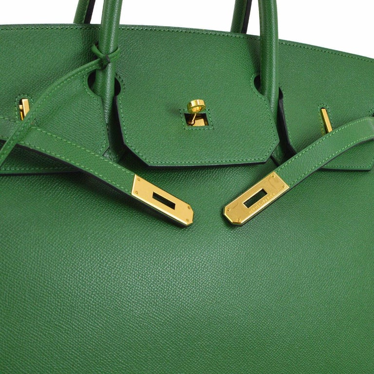 Hermes Birkin 40 Green Leather Gold Carryall Top Handle Satchel Tote  Leather Gold tone hardware Leather lining Date code present Made in France Handle drop 4.25