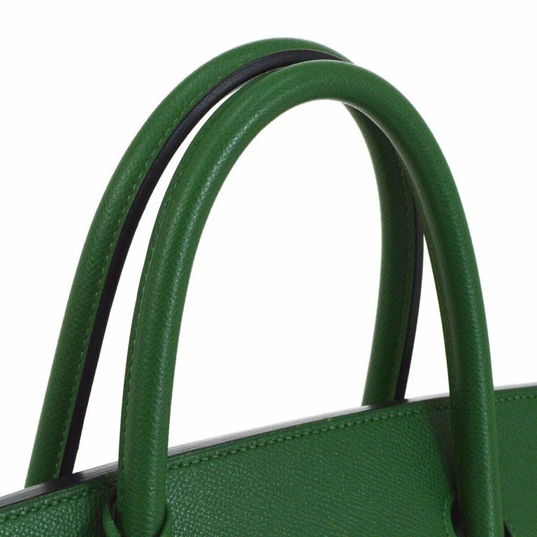 Black Hermes Birkin 40 Green Leather Gold Carryall Top Handle Satchel Tote For Sale