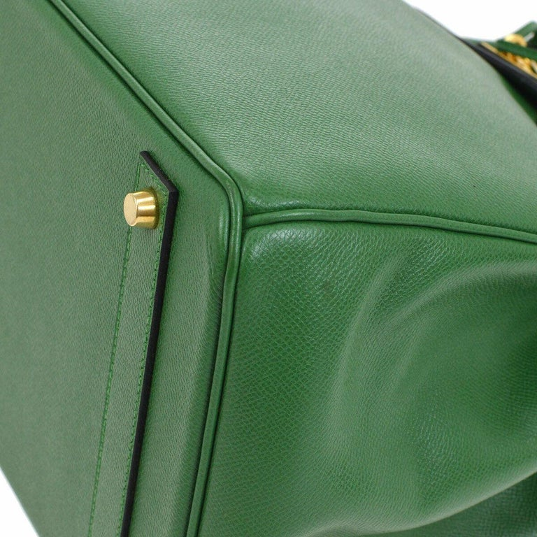 Hermes Birkin 40 Green Leather Gold Carryall Top Handle Satchel Tote For Sale 1