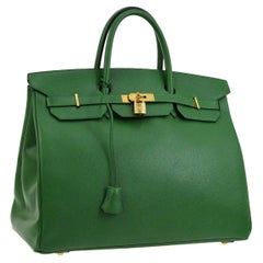 Hermes Birkin 40 Green Leather Gold Carryall Travel Top Handle Satchel Tote Bag