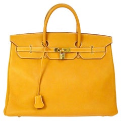 Hermes Birkin 40 Mustard Leather Gold Travel Carryall Top Handle Satchel Tote