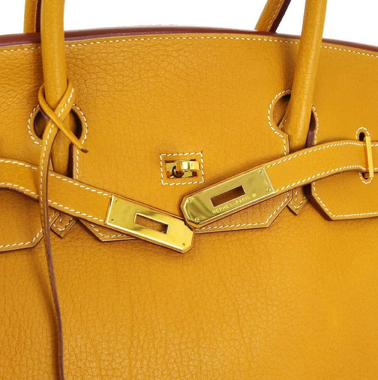 Hermes Birkin 40 Mustard Yellow Gold Carryall Travel Top Handle Satchel Tote  Leather Gold tone hardware Leather lining Date code present Made in France Handle drop 4.25