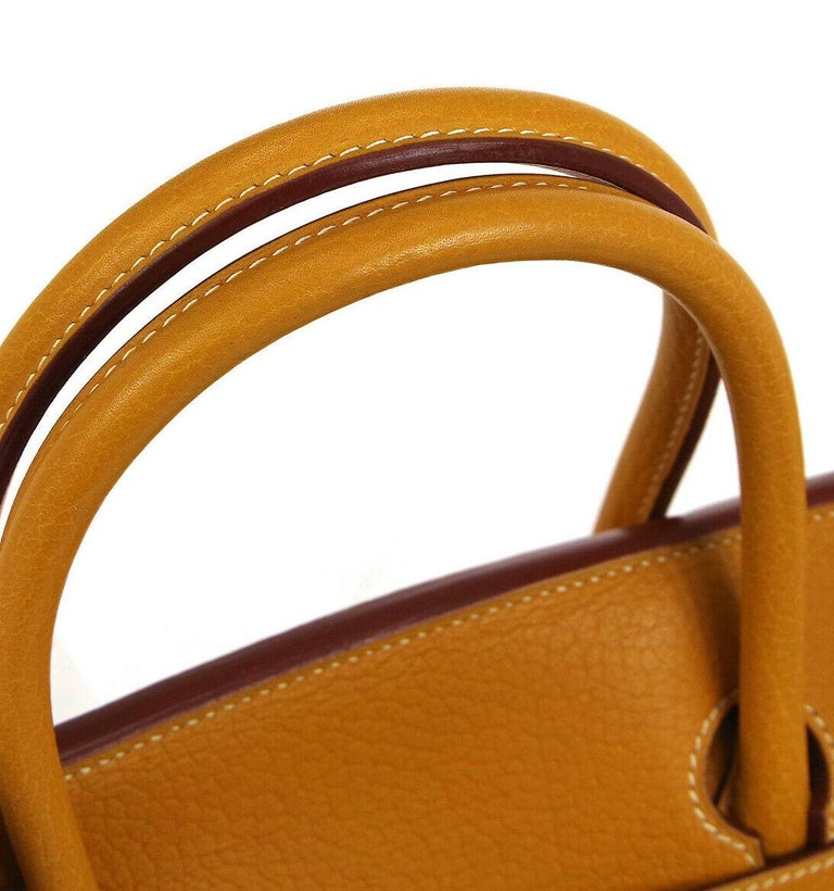 Orange Hermes Birkin 40 Mustard Yellow Gold Carryall Travel Top Handle Satchel Tote For Sale