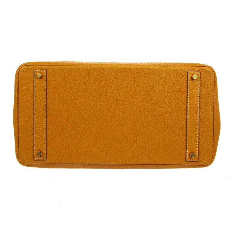 Women's Hermes Birkin 40 Mustard Yellow Gold Carryall Travel Top Handle Satchel Tote For Sale