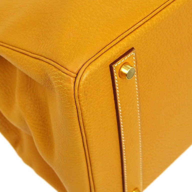 Hermes Birkin 40 Mustard Yellow Gold Carryall Travel Top Handle Satchel Tote For Sale 1