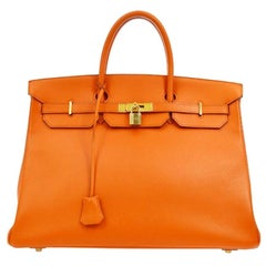 Hermes Birkin 40 Orange Leather Gold Travel Carryall Top Handle Satchel Tote
