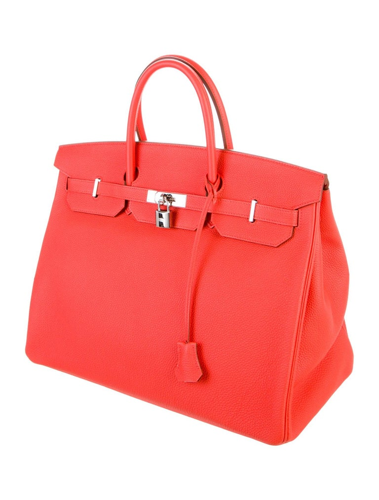 Hermes Birkin 40 Orange Red Leather Silver Travel Men's Top Handle Satchel Tote  In Good Condition For Sale In Chicago, IL