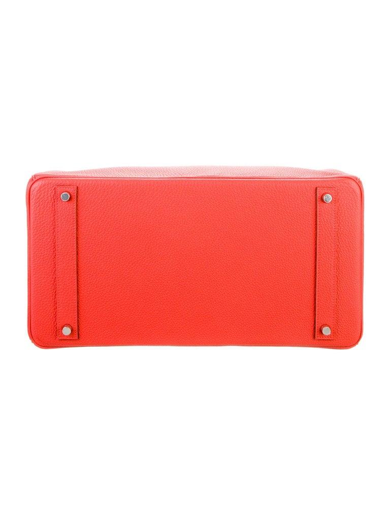 Women's Hermes Birkin 40 Orange Red Leather Silver Travel Men's Top Handle Satchel Tote  For Sale