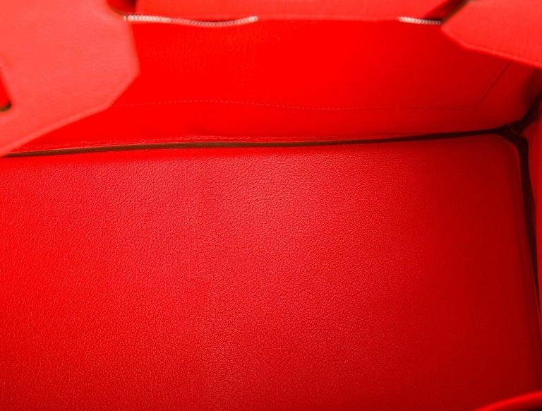 Hermes Birkin 40 Orange Red Leather Silver Travel Men's Top Handle Satchel Tote  For Sale 1