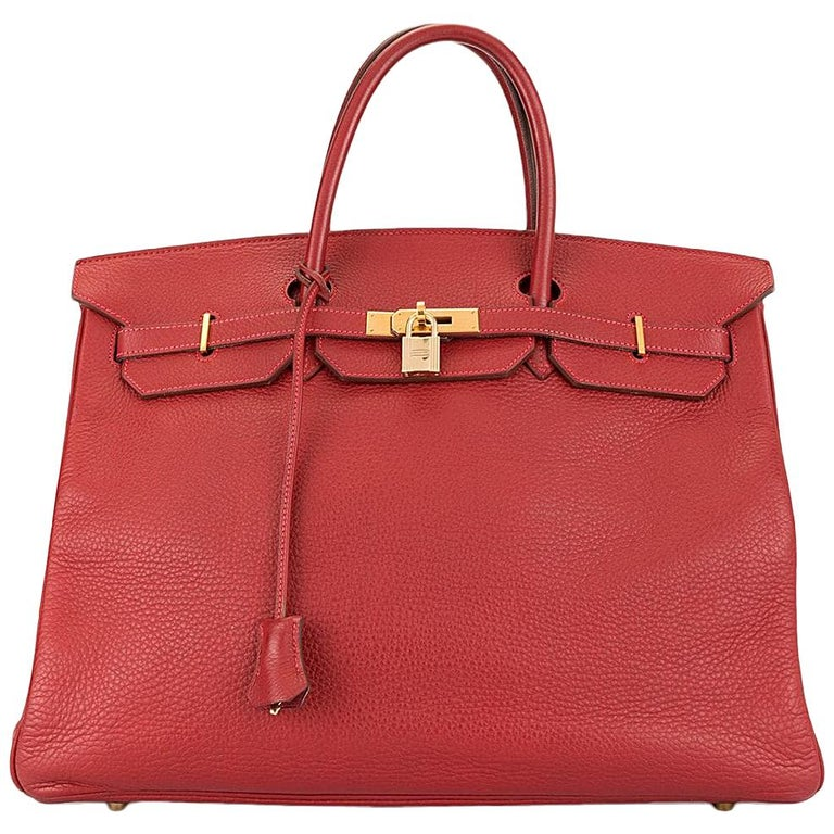 Hermes Birkin 40 Red Leather Gold Top Handle Satchel Carryall Tote Bag For Sale