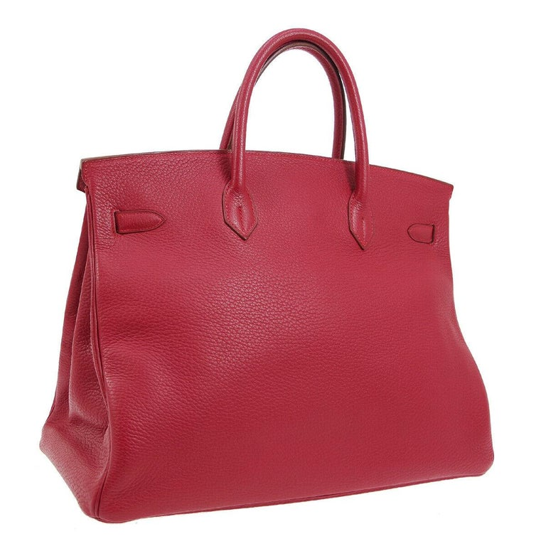Hermes Birkin 40 Red Leather Gold Travel Carryall Top Handle Satchel Tote In Good Condition For Sale In Chicago, IL