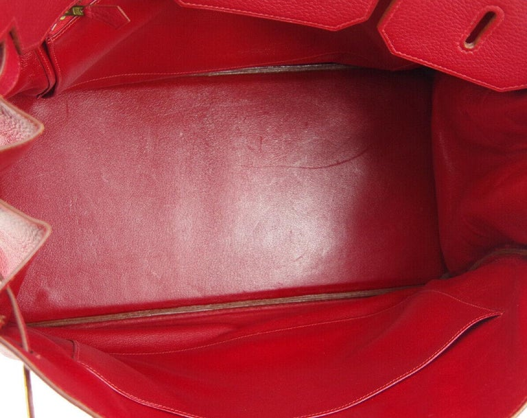 Hermes Birkin 40 Red Leather Gold Travel Carryall Top Handle Satchel Tote For Sale 2