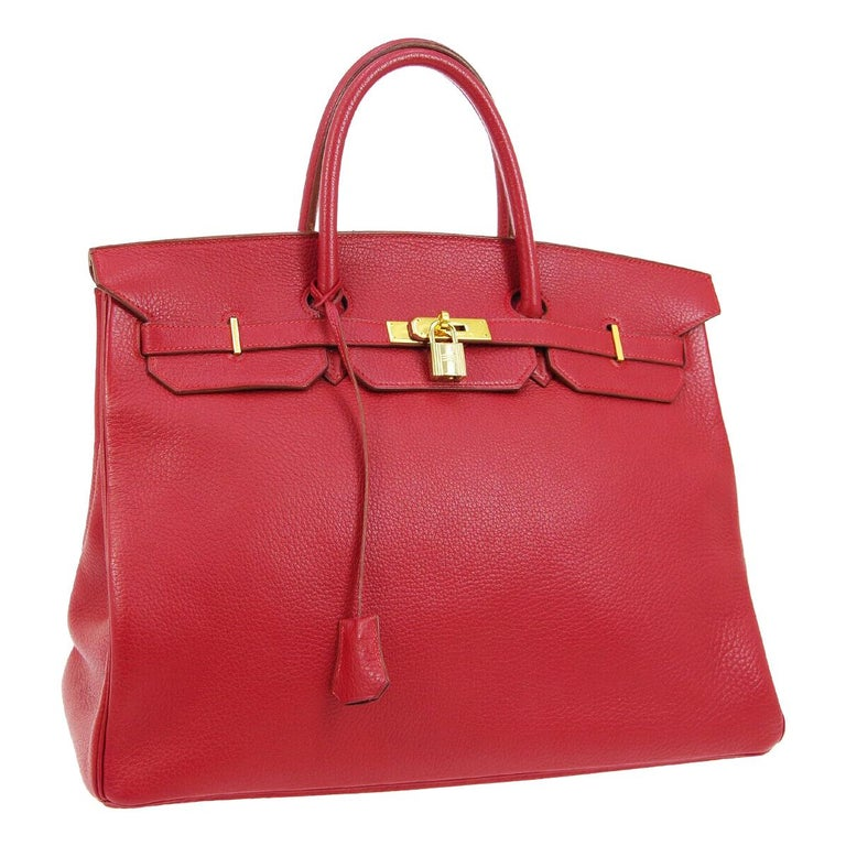 Hermes Birkin 40 Red Leather Gold Travel Carryall Top Handle Satchel Tote For Sale