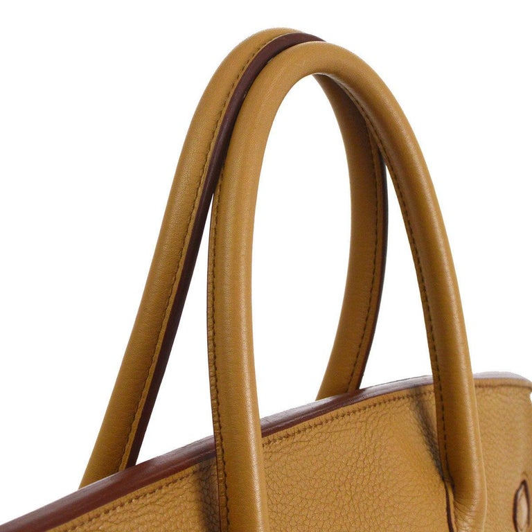 Hermes Birkin 40 Taupe Tan Leather Palladium Travel Carryall Top Handle Satchel Tote  Leather Palladium tone hardware Leather lining Date code present Made in France Handle drop 4.25