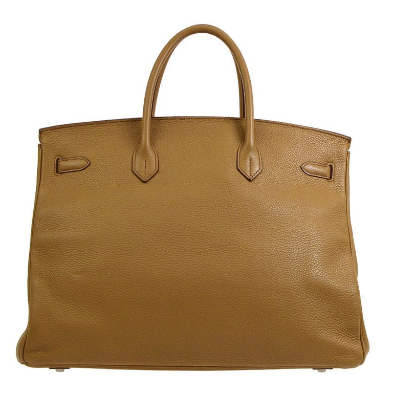Brown Hermes Birkin 40 Taupe Leather Silver Travel Carryall Top Handle Satchel Tote