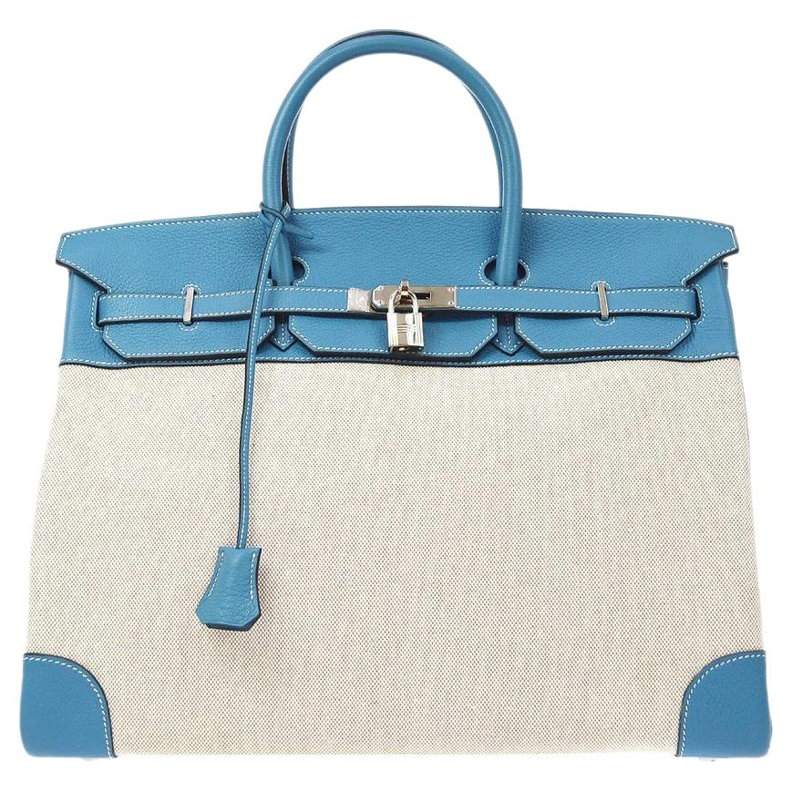 Hermes Birkin 40 Teal Blue Leather Canvas Top Handle Satchel Tote Carryall Bag