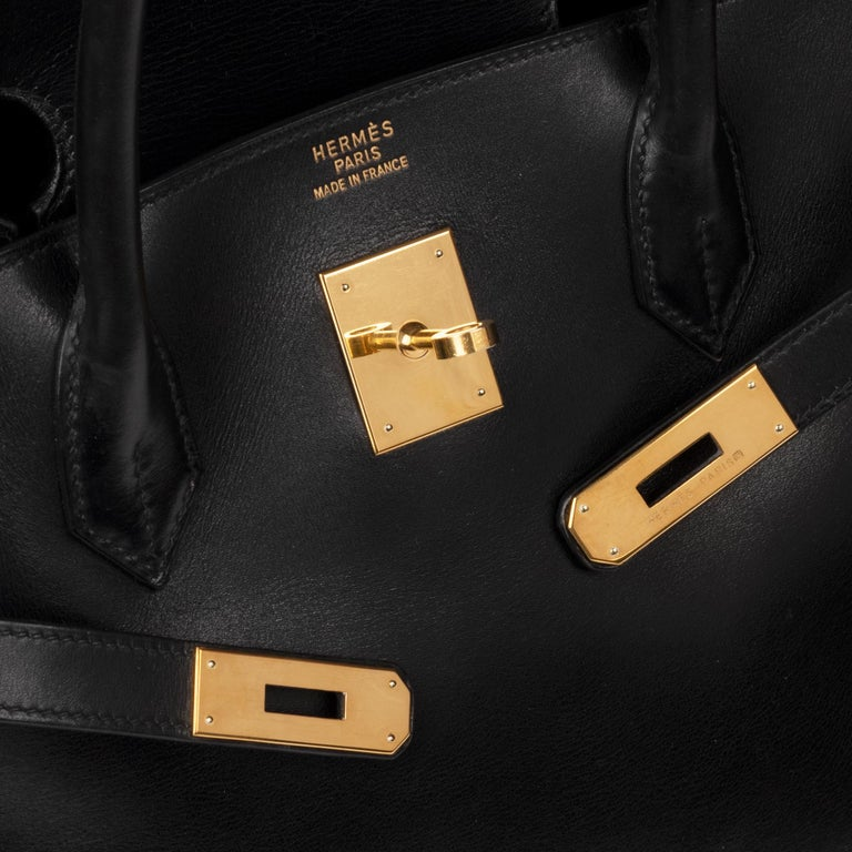 Hermes Birkin 40cm Black Box Leather Handbag In Good Condition For Sale In Paris, Paris