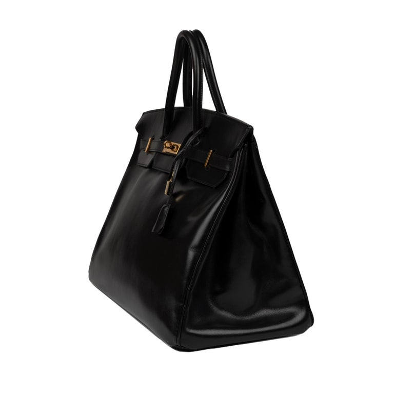 Hermes Birkin 40cm Black Box Leather Handbag For Sale 2
