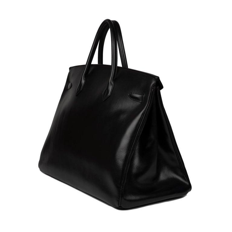 Hermes Birkin 40cm Black Box Leather Handbag For Sale 3