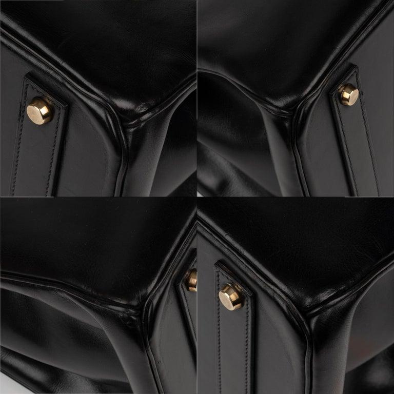Hermes Birkin 40cm Black Box Leather Handbag For Sale 5