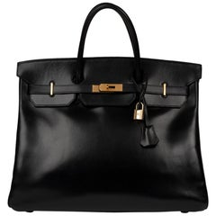 Hermes Birkin 40cm Black Box Leather Handbag