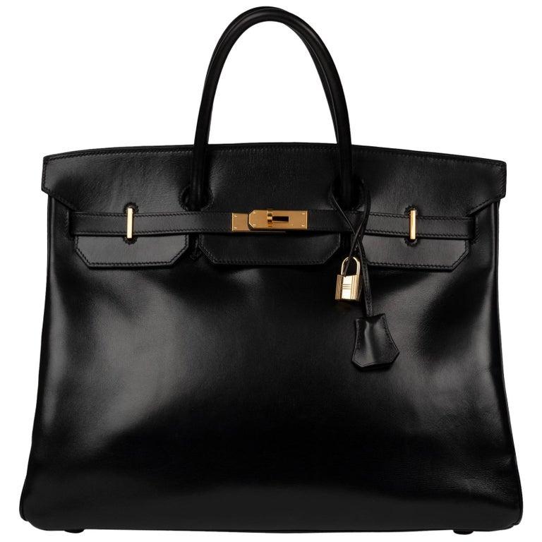 Hermes Birkin 40cm Black Box Leather Handbag For Sale