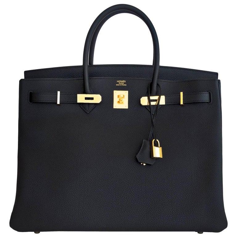 Hermes Birkin 40cm Black Togo Gold Hardware Power Birkin D Stamp, 2019 For Sale