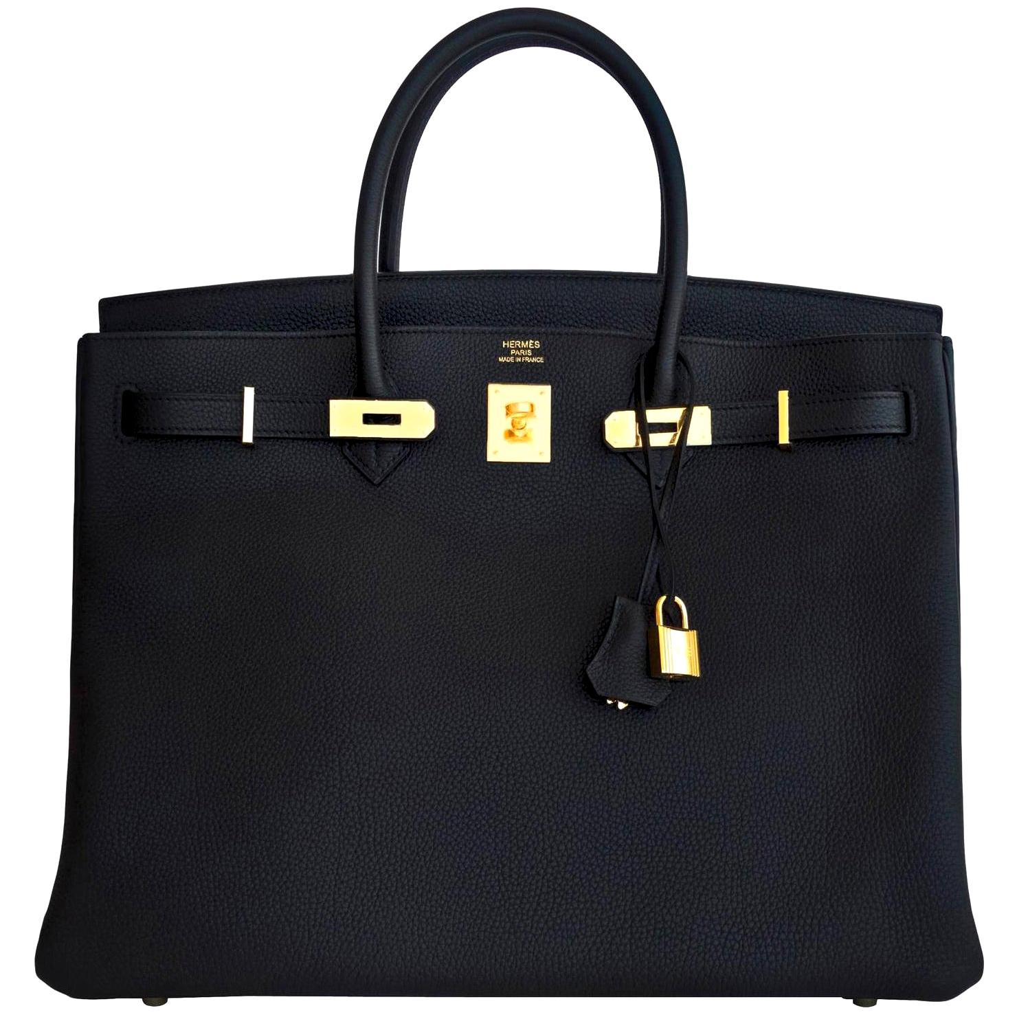 Hermes Birkin 40cm Black Togo Gold Power Birkin Bag NEW RARE