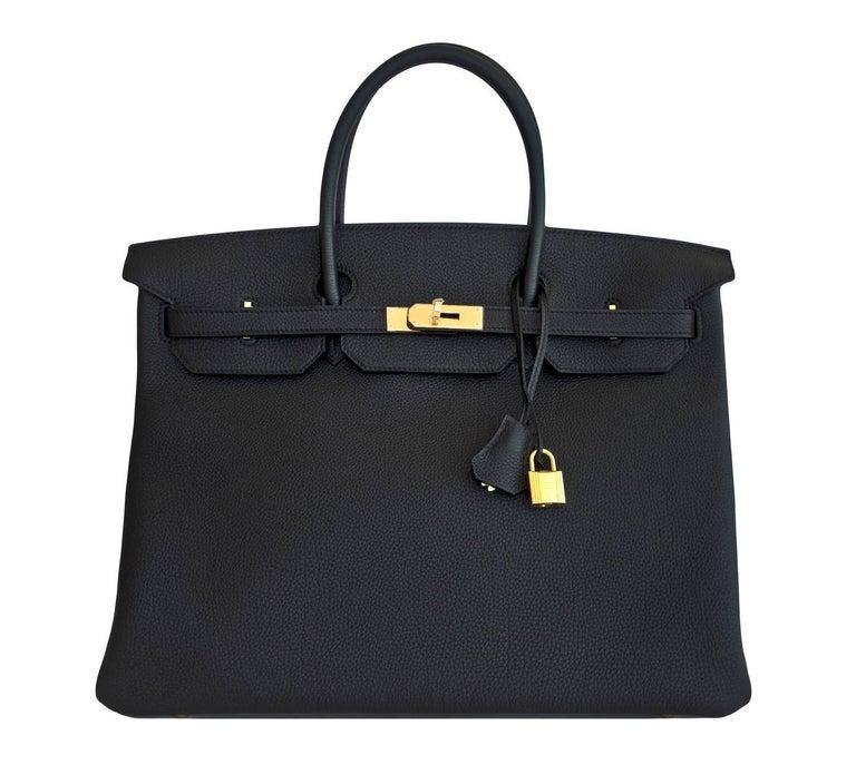 Hermes Birkin 40cm Black Togo Gold Power Birkin Bag NEW RARE In New Condition For Sale In New York, NY