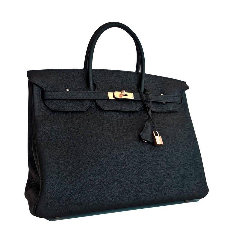 Women's or Men's Hermes Birkin 40cm Black Togo Gold Power Birkin Bag NEW RARE For Sale