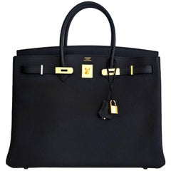 Hermes Birkin 40cm Black Togo Gold Power Birkin Bag NEW RARE