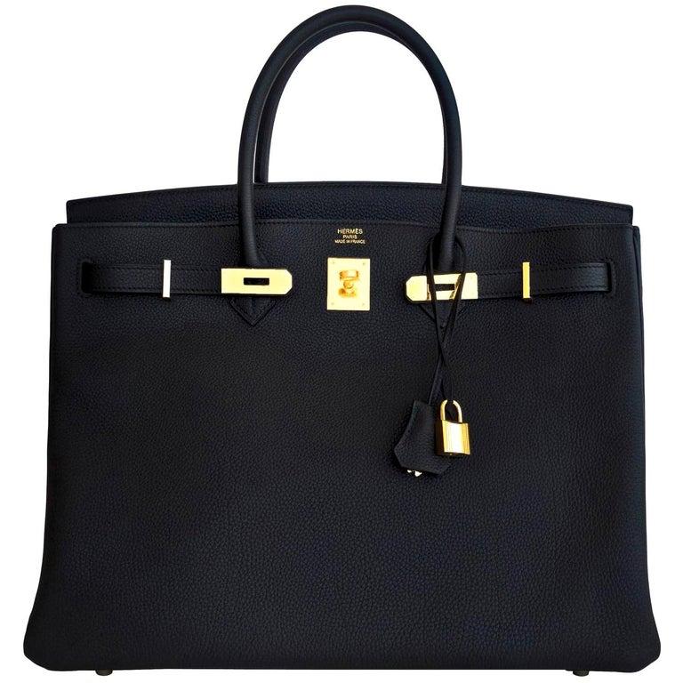 Hermes Birkin 40cm Black Togo Gold Power Birkin Bag NEW RARE For Sale
