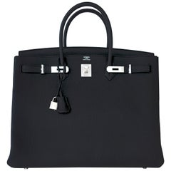 Hermes Birkin 40cm Black Togo Palladium Hardware Bag Y Stamp, 2020 ULTRA RARE